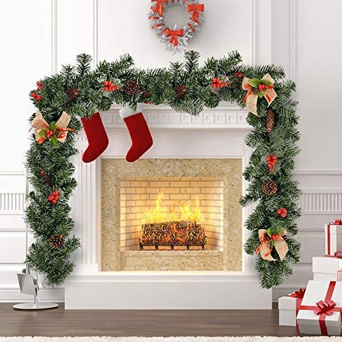 Decorated Christmas Garland for Fireplaces