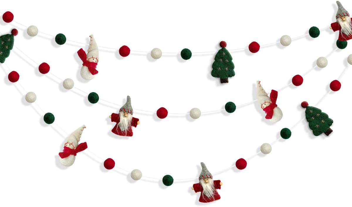 Wood and Felt Christmas Garland