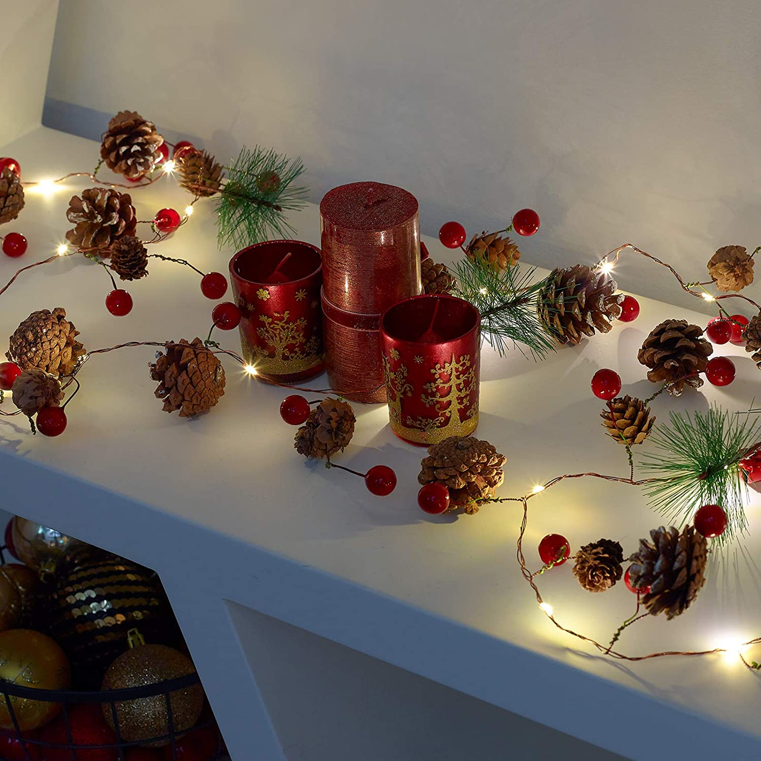 Christmas Pine Cone Garland with LEDs